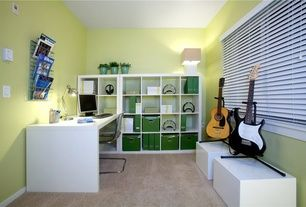 modern home office with ikea tobias chair clear carpet high ceiling ikea kallax workstation white