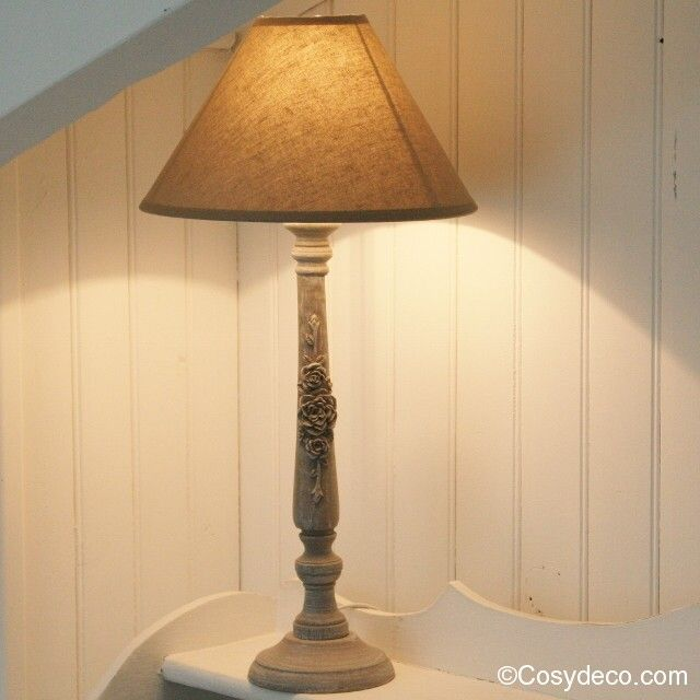 Lampe Bougeoir grise Style Shabby Chic avec Abat-jour