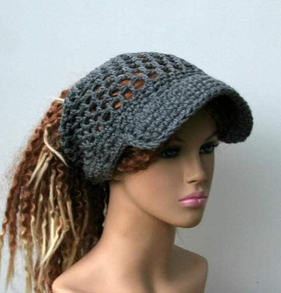 Grey Ponytail hat or other custom color Visor Dread Tube cap, open ...