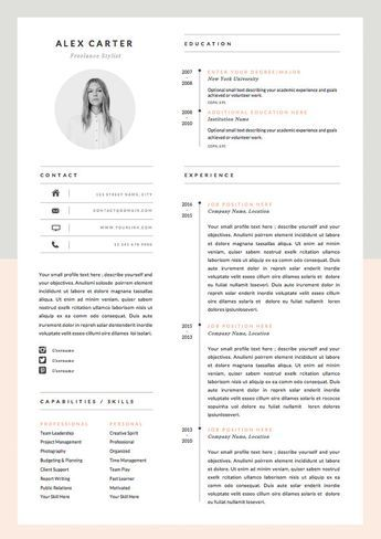 Modern Resume Template  Cover Letter Icon Set Door Oddbitsstudio