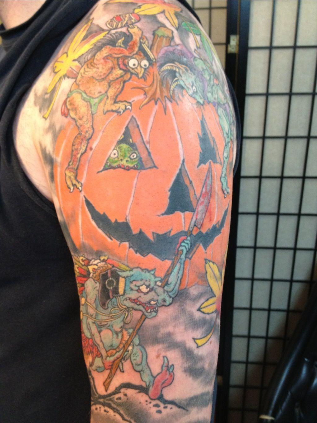 Colored Halloween Tattoo On Left Half Sleeve Halloween