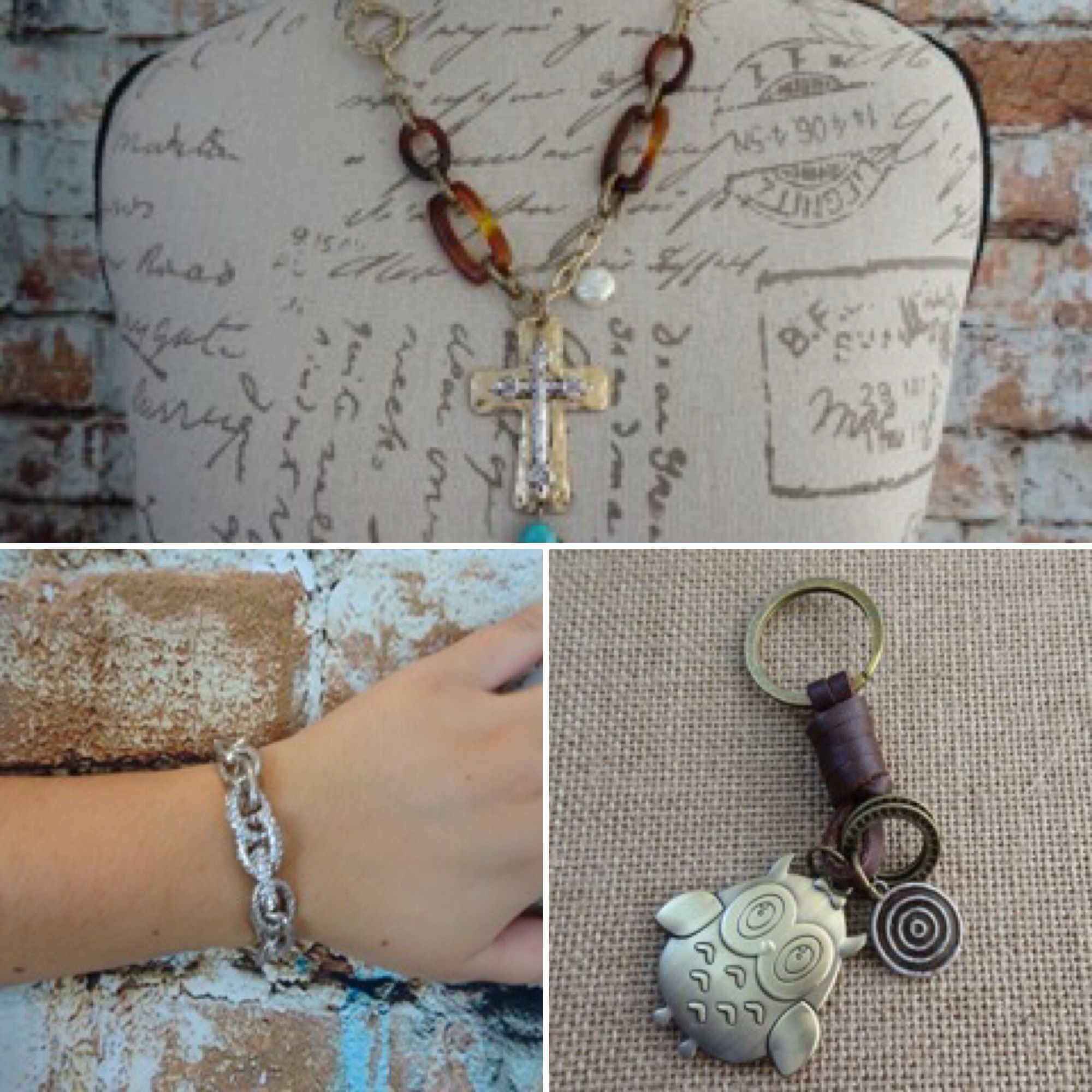 Beautiful cross necklace. Silver and crystal stretch bracelet. Cute owl leather keychain.