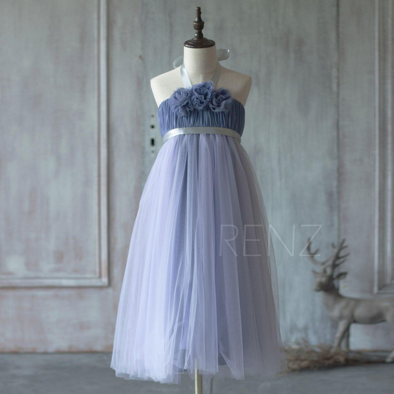 Steel blue junior bridesmaid dress halter flower flower girl dress