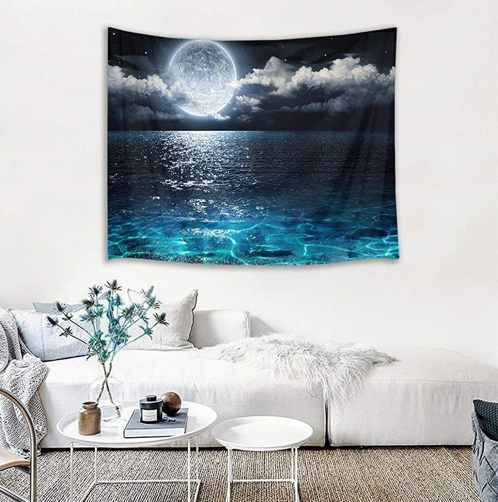 Lb Night Sky Tapestry Wall Hanging Full Moon On The Sea Magical Fantasy Wall Art 3d Watercolor Tap Fantasy Wall Art Wall Tapestry Bedroom Tapestry Wall Hanging