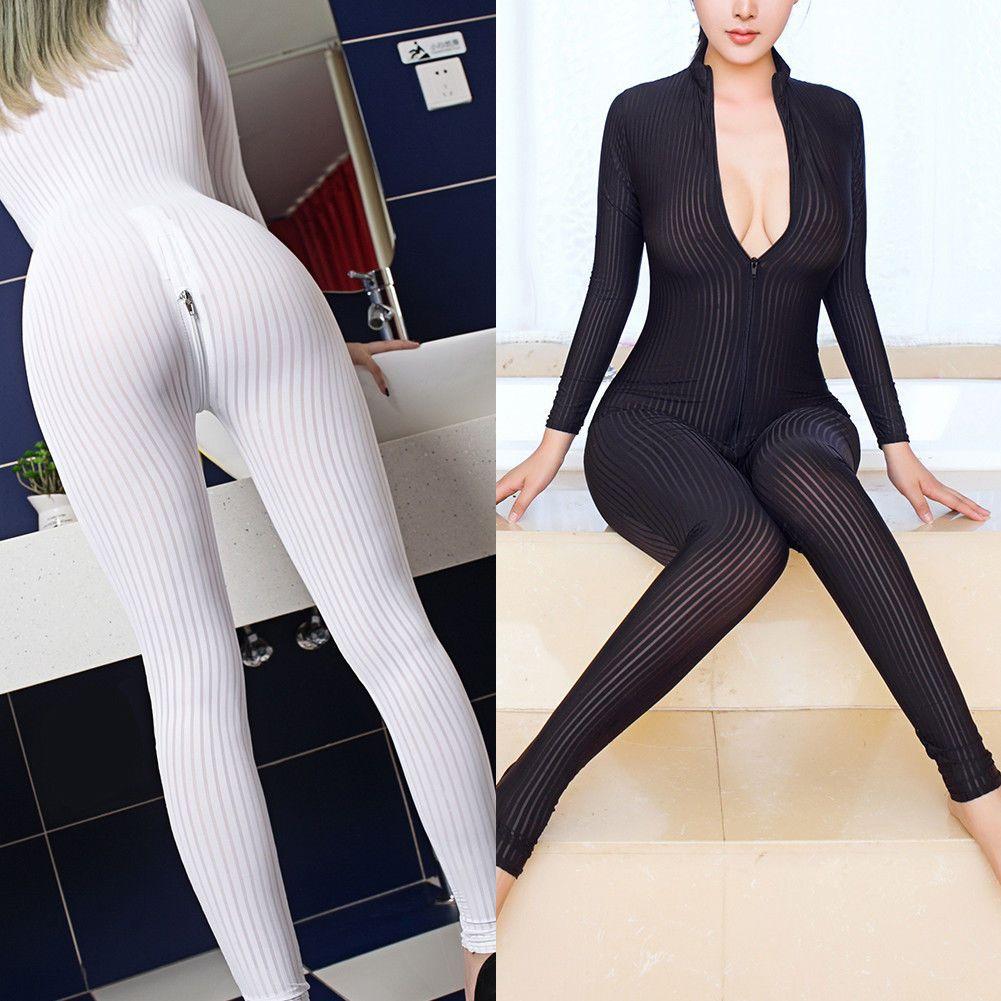 Bodysuit Jumpsuit Romper Women/'s Sheer Long Sleeve Open Crotch Skinny Nightclub