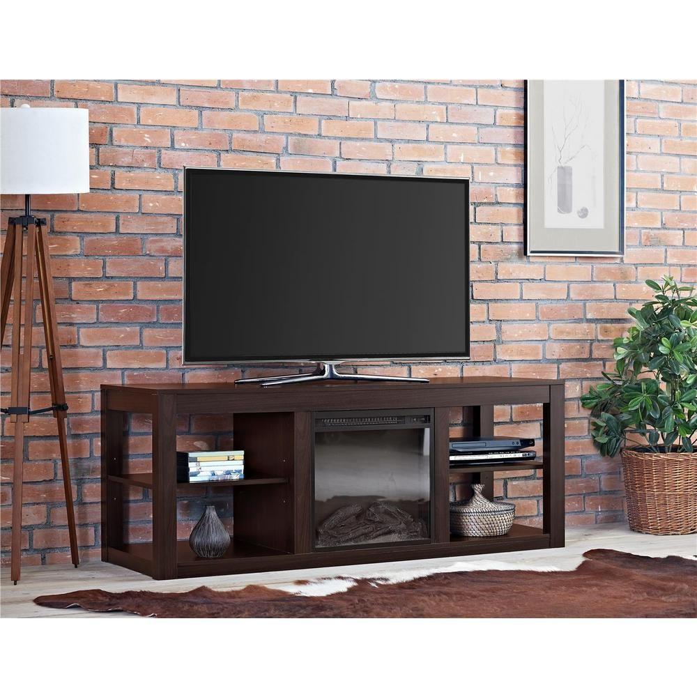 Ameriwood 65 In Espresso Tv Stand Console With Fireplace 1816096com The Home Depot Contemporary Tv Stands Tv Stand Luxury Electric Fireplace Tv Stand
