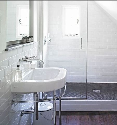 Dark Penny Round Tiles On Shower Floor, White Subway Tile Part 75