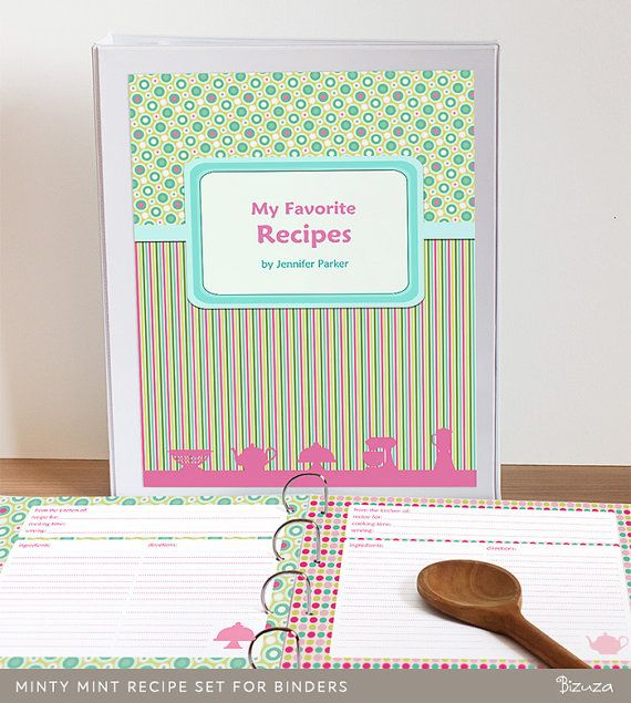 Recipe Binder Kit Editable Cookbook Pages Printable PDF Minty Mint Instant Download