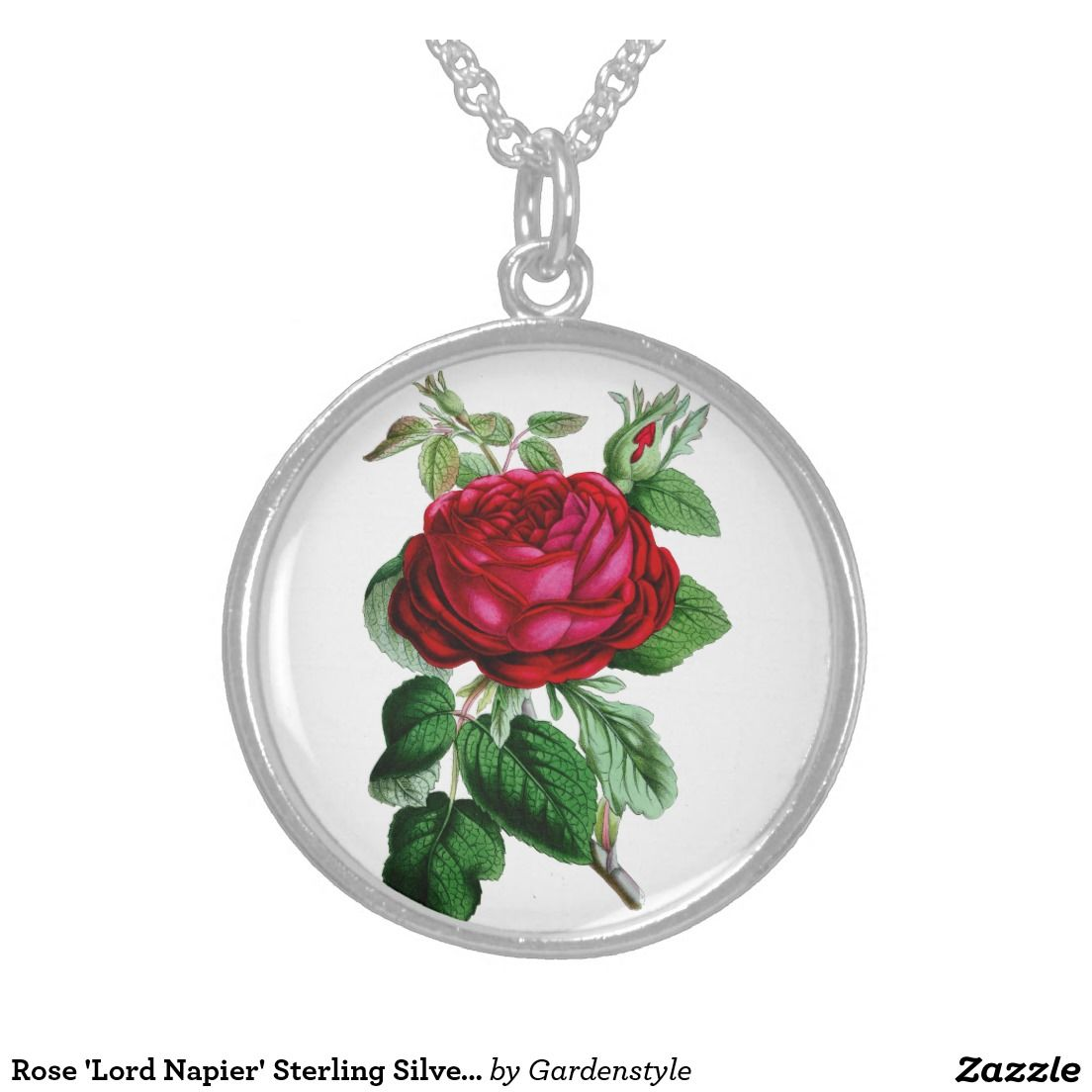 Rose 'Lord Napier' Sterling Silver Round Necklace