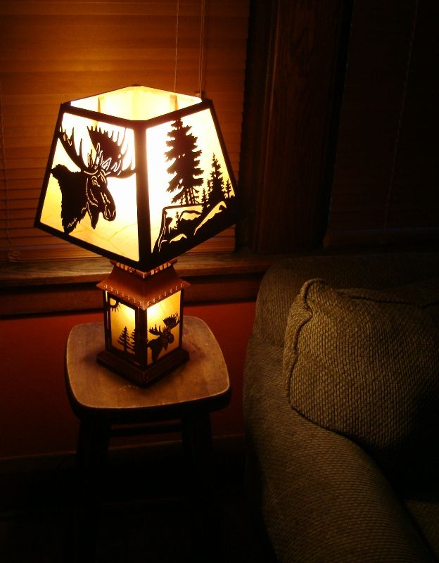 Moose silhouette full size table lantern lamp log cabin lodge home log cabin lamp lamp full size table lamp lighted lantern base silhouette aloadofball Image collections