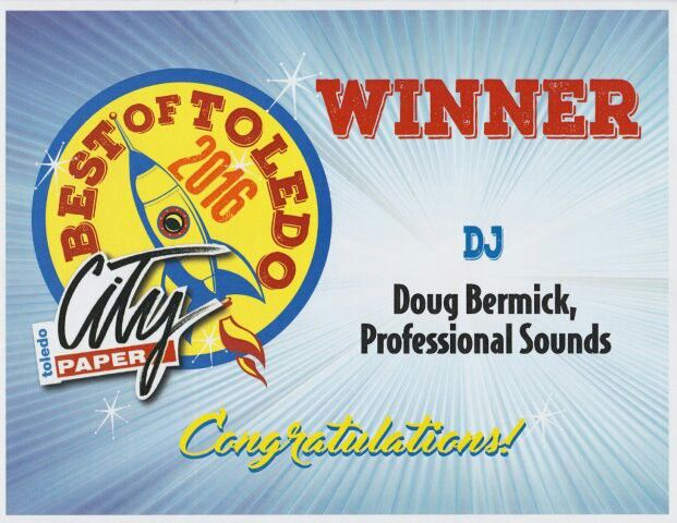 Thank you Toledo for voting us in as the #1 DJ Company.  March 10, 2017 at Premier Catering.