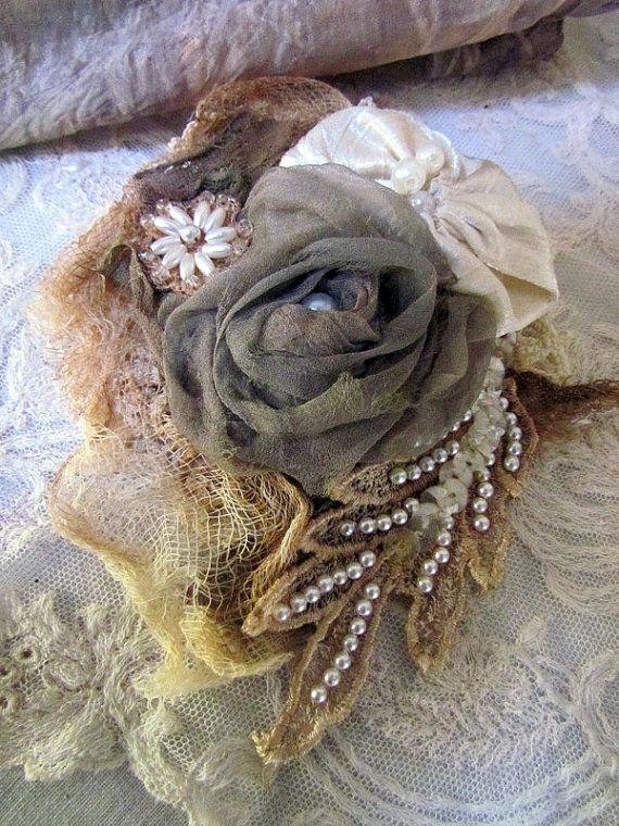 OOAK silk corsage, wedding corsage, silk rose brooche, shabby rose corsage, lace brooche, shabby rustic corsage, vintage lace