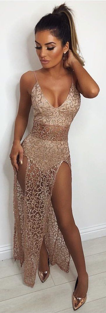 a4f01482bc8  winter  outfits brown lace spaghetti strap bodycon dress. Pic by   dressmezee.