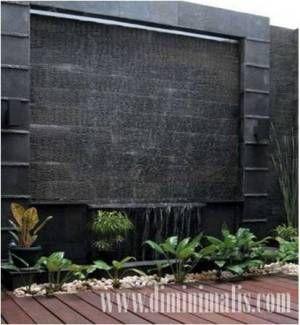 air terjun dinding minimalis batu alam yang segar dan