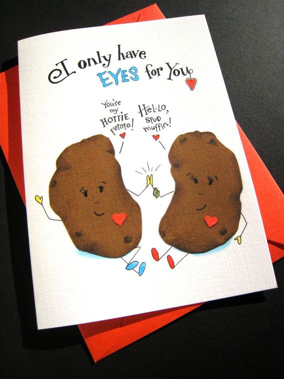 Funny Love Card Potato Pun Card Food Pun Funny Valentine I Only Have Eyes For You