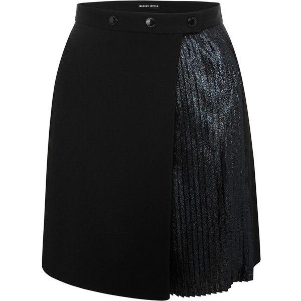 Black and Navy Pleated Glitter Lurex Anjelika Skirt (705 CAD ...
