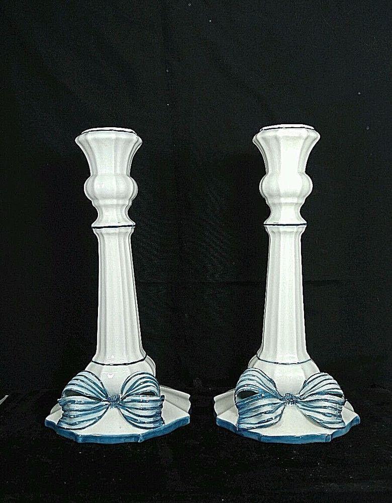 Vintage Italy Italian Ceramic Set of 2 White Candlestick Candle Holder Blue bow