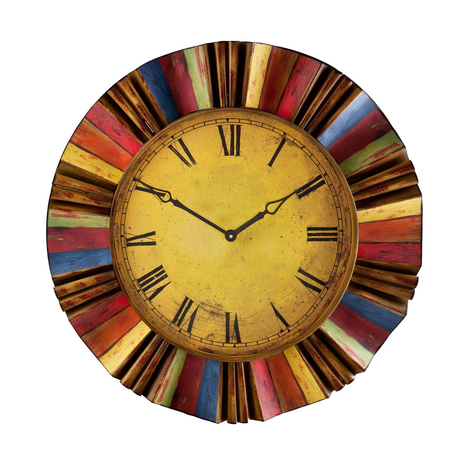 Liven up your décor with this colorful wall clock. Featuring a halo ...