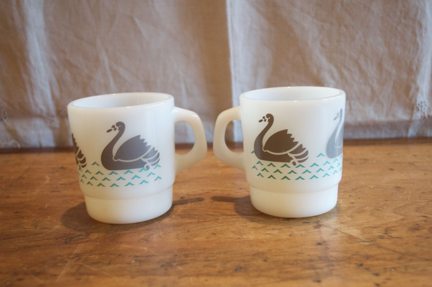 Sale!!  Two UNIQUE TERMOCRISA Coffee Mugs. Lovely SWAN Design in Gray and Turquoise Colour. by GottaBuyVintage on Etsy https://www.etsy.com/listing/213089110/sale-two-unique-termocrisa-coffee-mugs