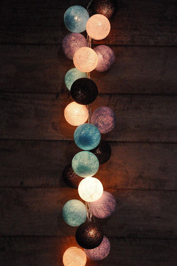35 bulbs retro mixed purple black bule white cotton ball string lights for patio christmas. Black Bedroom Furniture Sets. Home Design Ideas