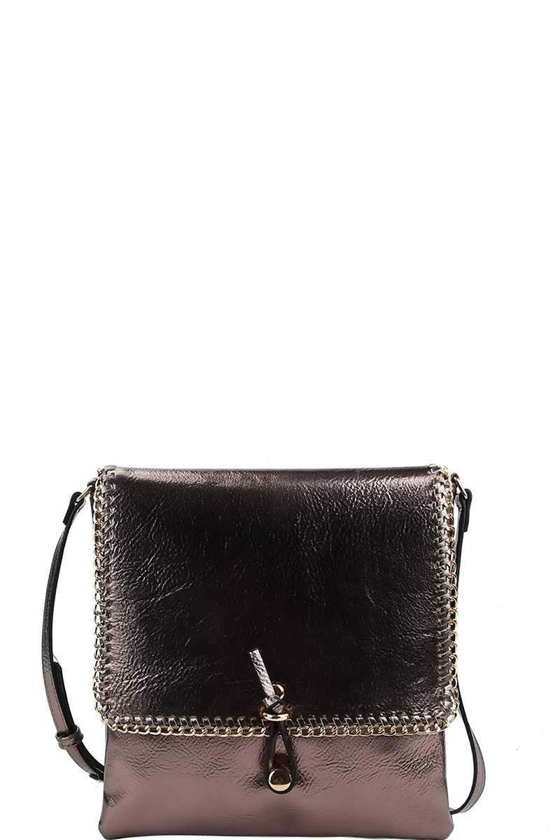 Designer Trendy Chained Crossbody Bag #zippertop