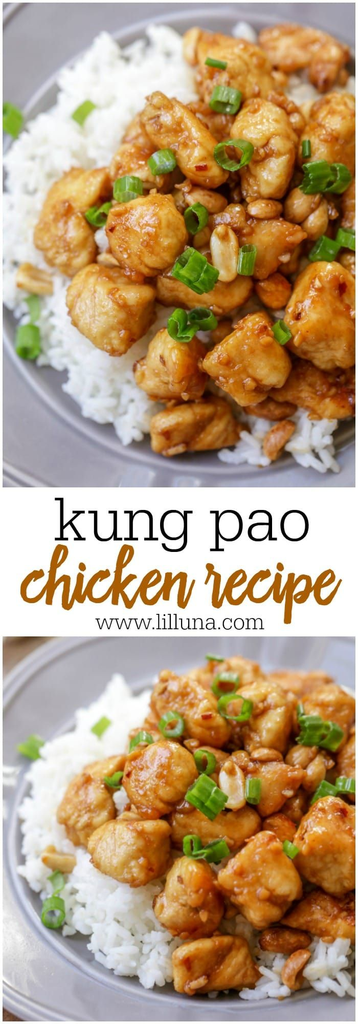 This Homemade Kung pao Chicken is a tasty dinner recipe with a kick! This dish is filled with chicken and nuts and is covered in an amazing sauce, topped with green onions and perfectly served over rice. #kungpaochicken #kungpao #chicken #asianchickenrecipe #asian