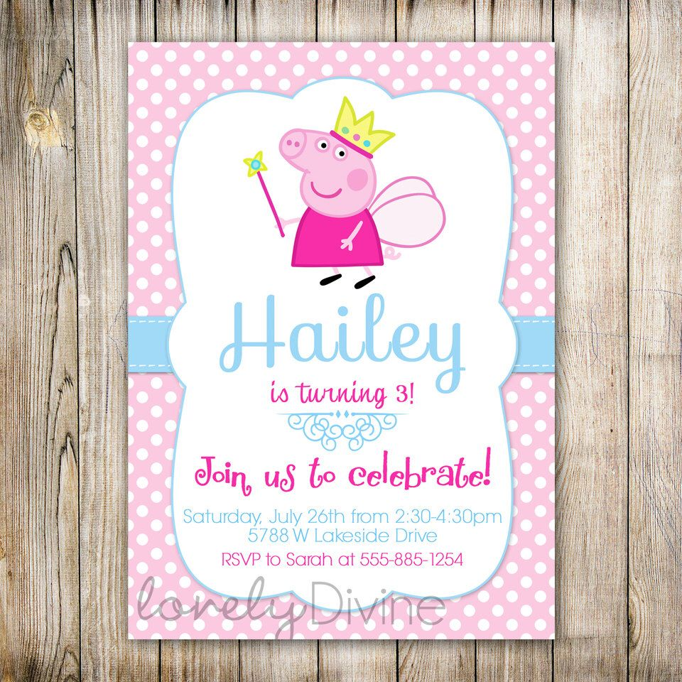 Peppa Pig Invitation Invite 1st Birthday