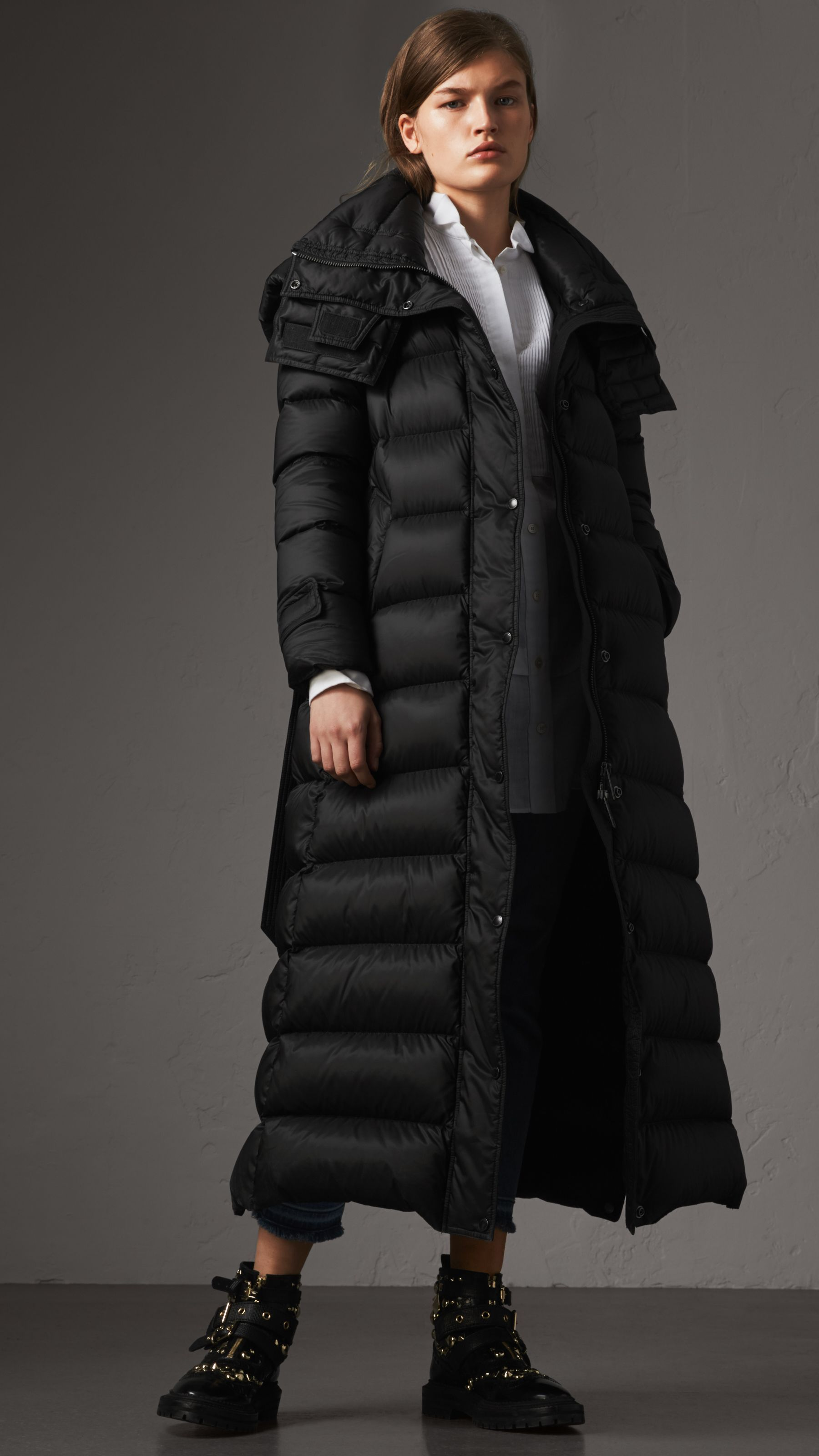 4d6951b2cb6c1d Detachable Hood Long Down-filled Puffer Coat in Black - Women | Burberry  United States