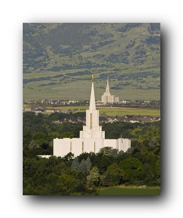 Jordan River Temple with Oquirrh Temple in background. (Ken Fortie) We were told when I was attending BYU back in the 1970's that someday we would be able to see one temple to the next temple. (Temples dotting the land).