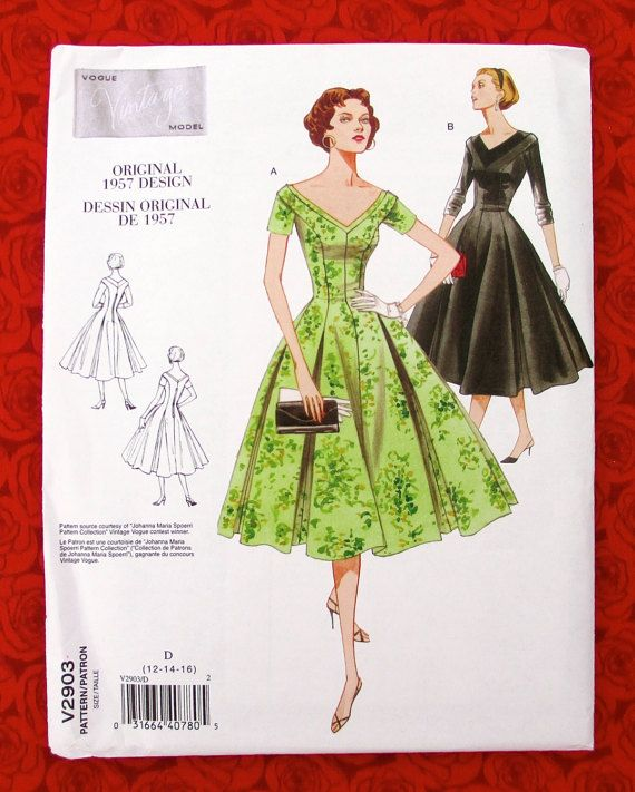 Vogue Sewing Pattern V2903 1950's Fit Flare Style Dress