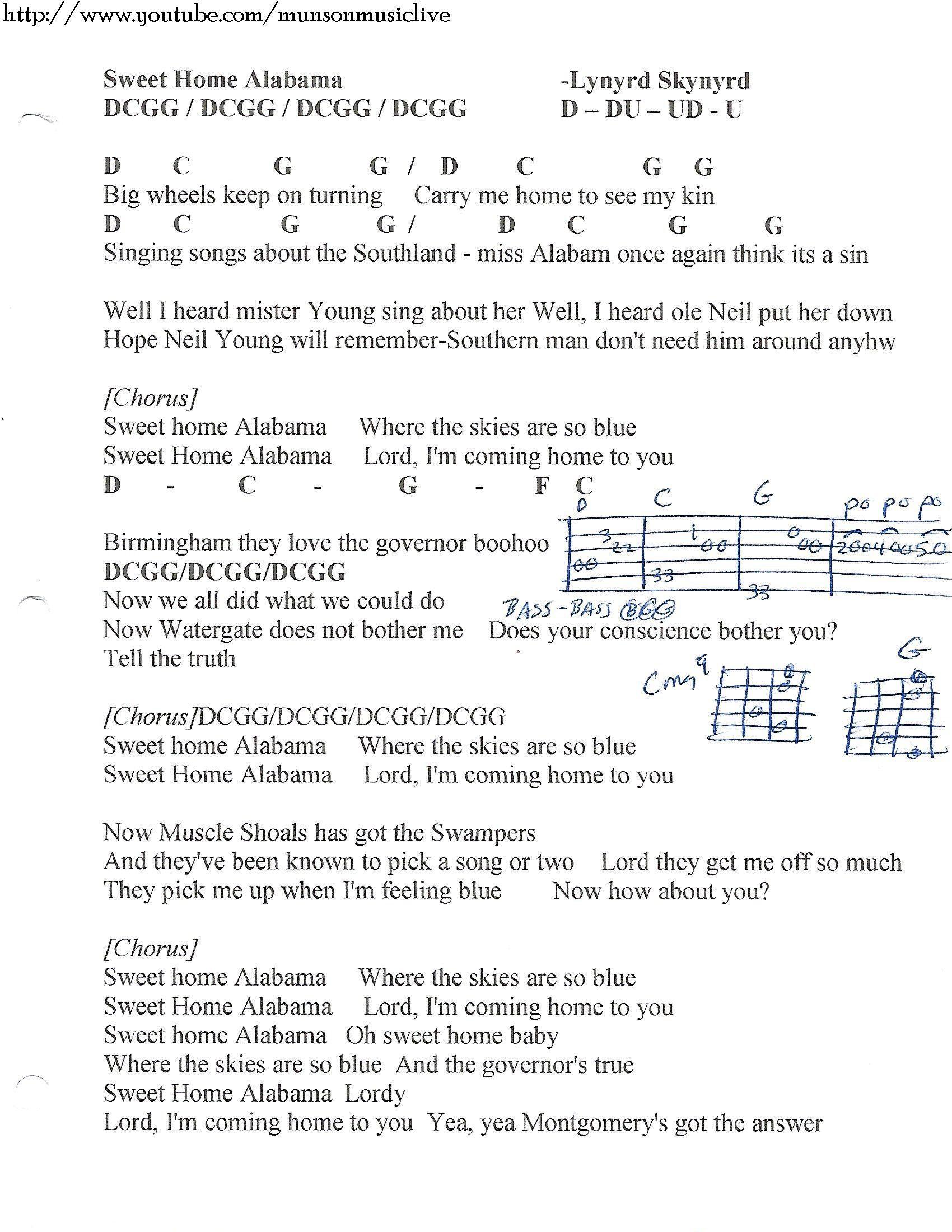 Sweet Home Alabama Lynyrd Skynyrd Guitar Chord Chart Lyrics In