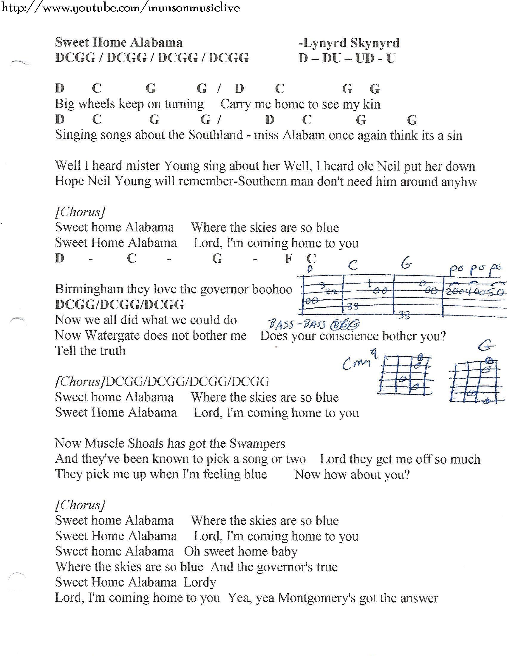 Sweet Home Alabama Lynyrd Skynyrd Guitar Chord Chart Lyrics