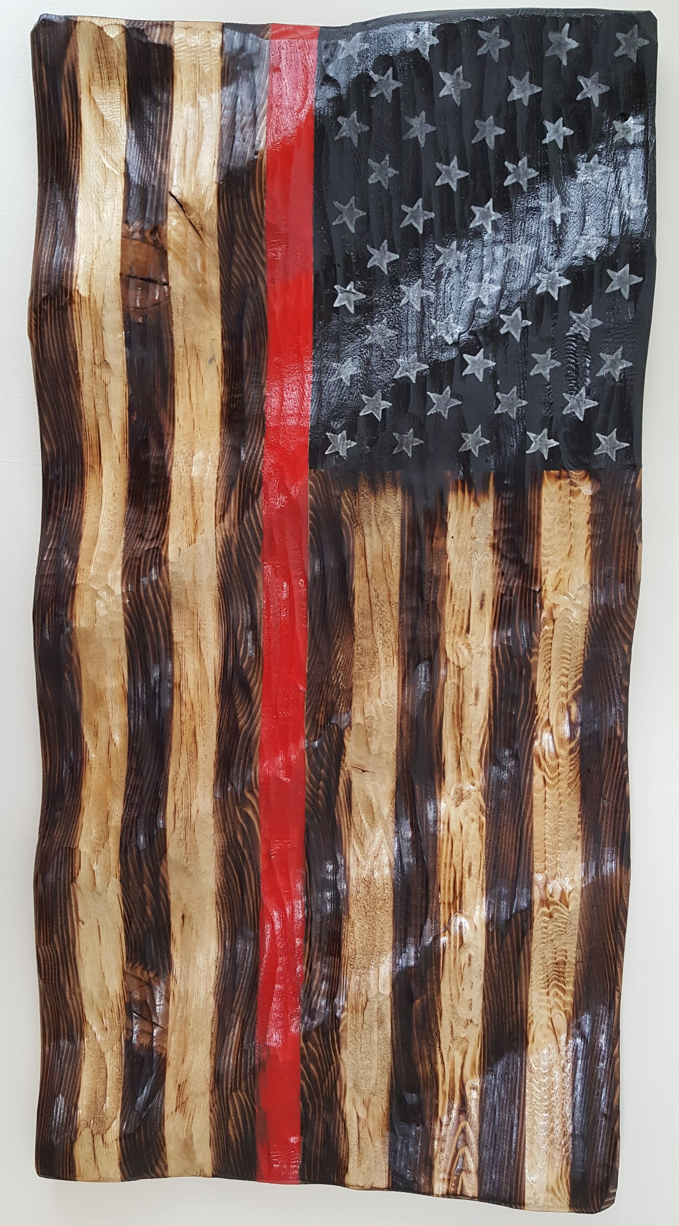 First In Last Out Red Line Carved American Flag Wooden American