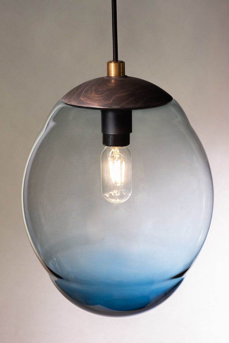 Lh12 Pendant With Blue Glass And Ebonized Cherry Cap With Brass Finial Ceiling Pendant Contemporary Lighting Pendant Lamp