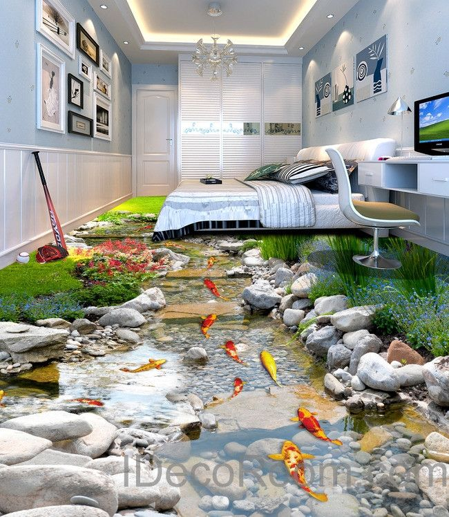 3D Fish Stone Stream Floor Decals WallPaper Murals Wall Print Sticker Kitchen Bathroom Business Home Office