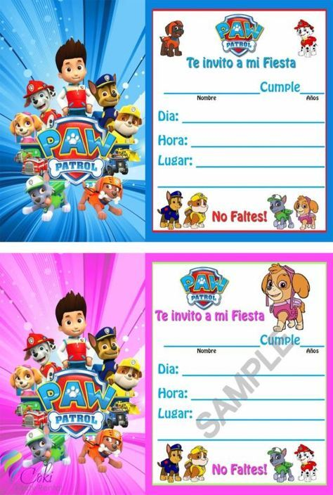 Invitaciones Paw Patrol Espanol Nino Y Nina12 Birthday Party Invitations