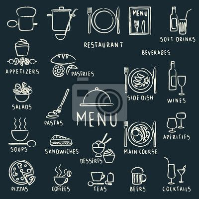 Chalk drawn restaurant menu design elements on blackboard ...