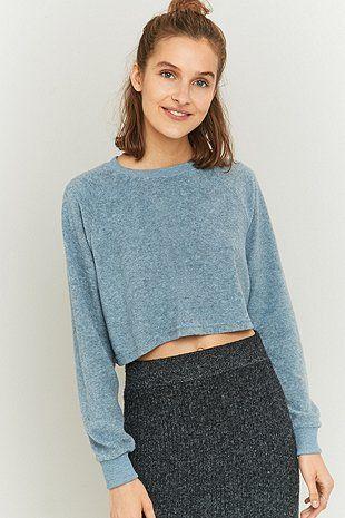BDG Cropped Blue Towelling Sweatshirt