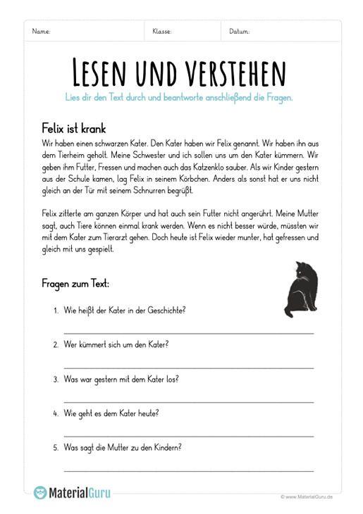 ein kostenloses arbeitsblatt zum thema lesen verstehen auf dem die kinder einen einfachen. Black Bedroom Furniture Sets. Home Design Ideas