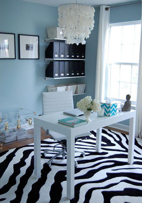 Blue White Black Zebra Office Home Decor Benjamin