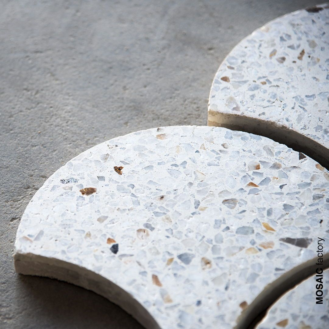 White Scallop Shaped Terrazzo Tiles From Mosaic Factory Bespoke Decorative Tiles Made To Order In Modern Shapes A Terrazzo Cement Tiles Bathroom Terrazzo Tile