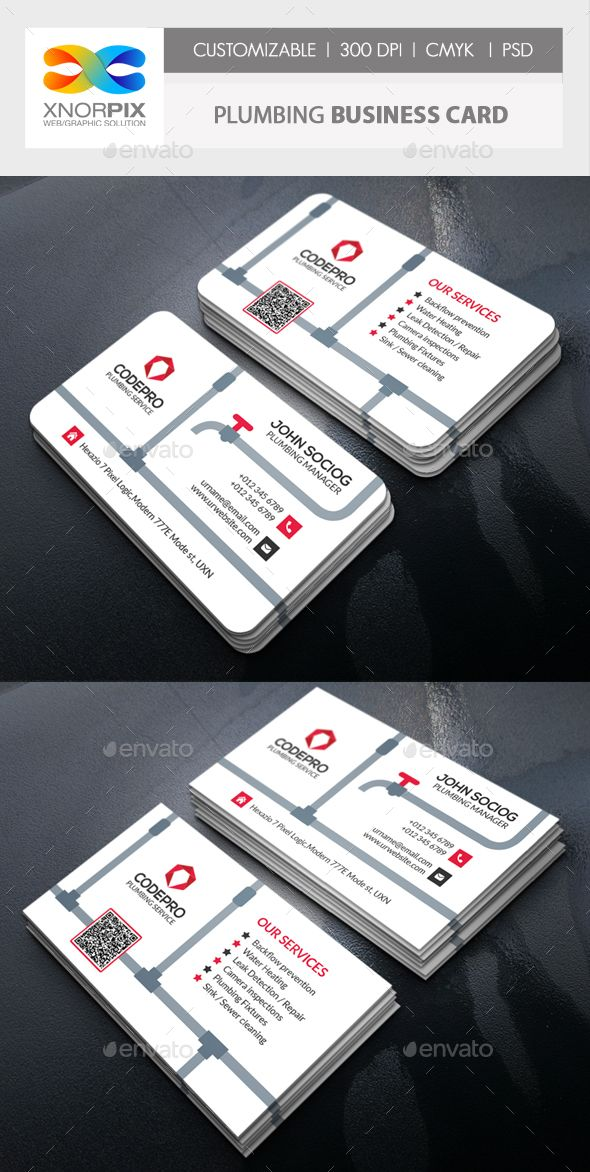 Plumbing Business Card Plumbing, Business cards and Corporate business