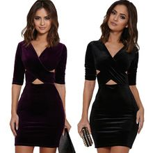 Fancy Velvet V collar Crisscross Front Body Hafe Sleeve Sexcy Dress  Black Purple 2 colors (China (Mainland))