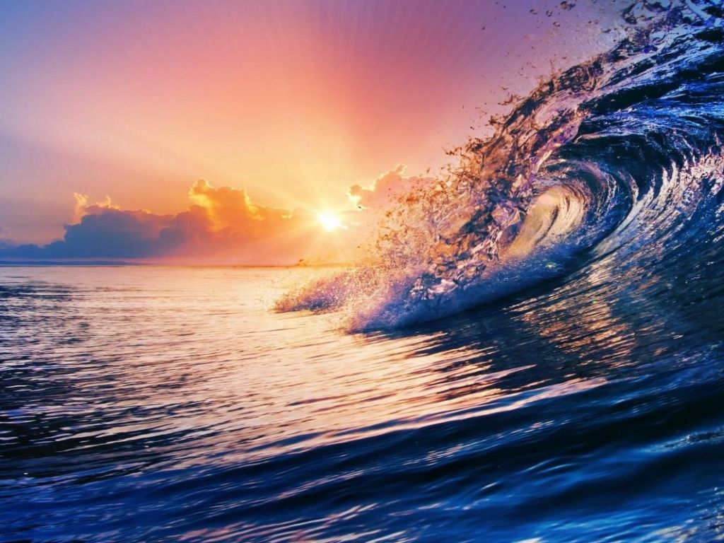 Sunset With Sea Wave Tap To See More Breathtaking Beach: Sunsets & Sunrise & Mone Shine .