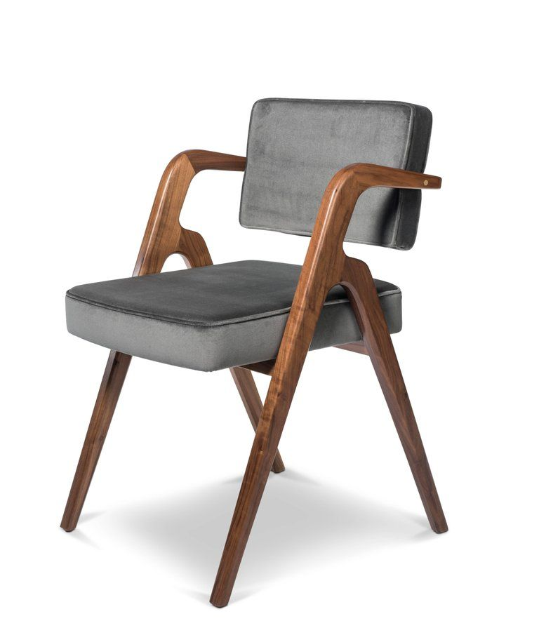 Contemporary Dining Chair In Walnut With Upholstered Seat And Back