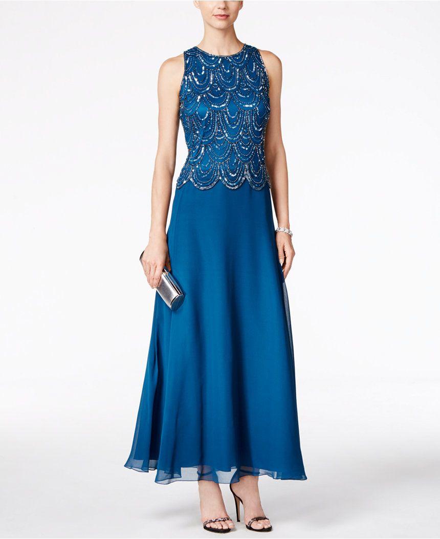 6f6199eaf8f J Kara Embellished Scalloped A-Line Gown - Dresses - Women - Macy s ...