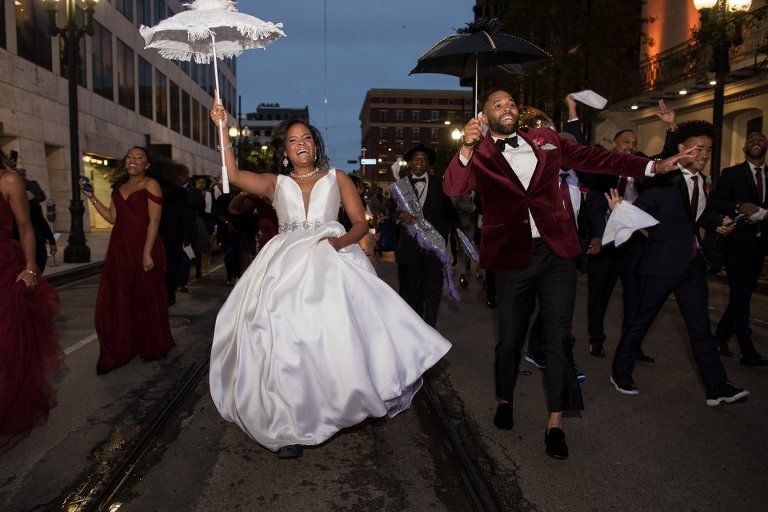 Aysia Kevin Married Second Line Parade New Orleans Wedding African American Couples