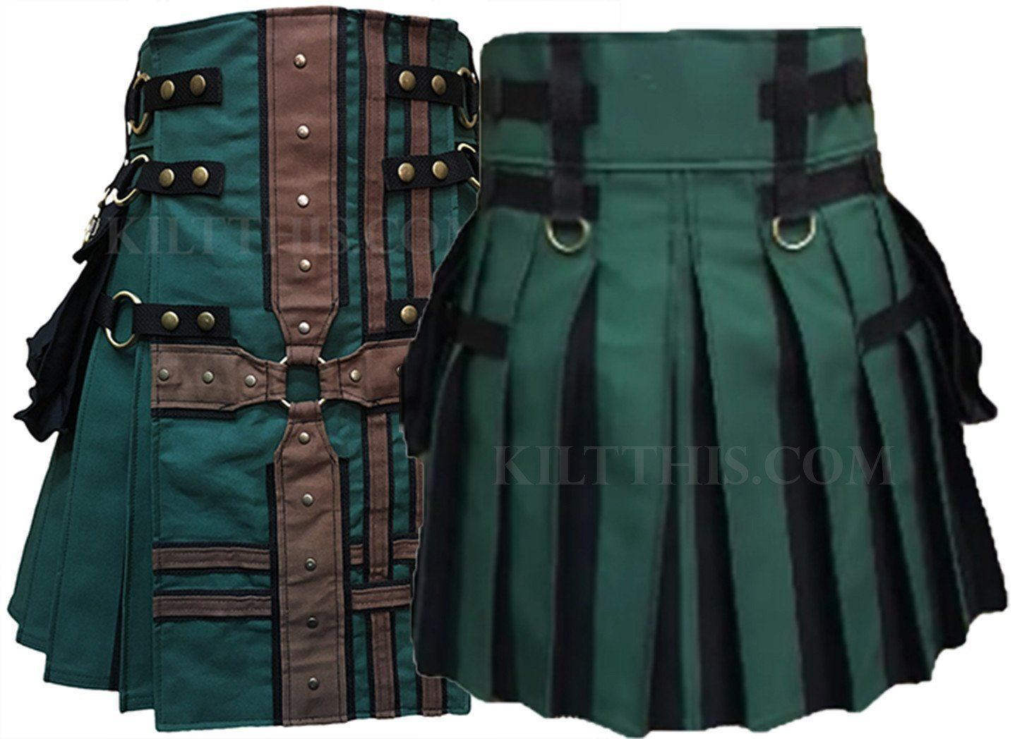 Interchangeable Hunter Green Brown Canvas Cargo Utility Kilt Medieval Cross Design Flash Pleats
