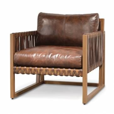 leather and wood strap club chair chairs chair furniture lounge rh pinterest com