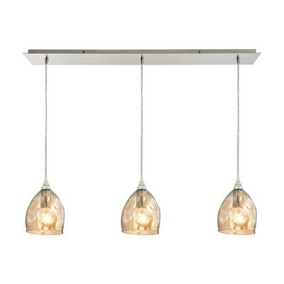 Wade Logan Gillett 3 Light Kitchen Island Pendant Shade Color: Champagne Plated